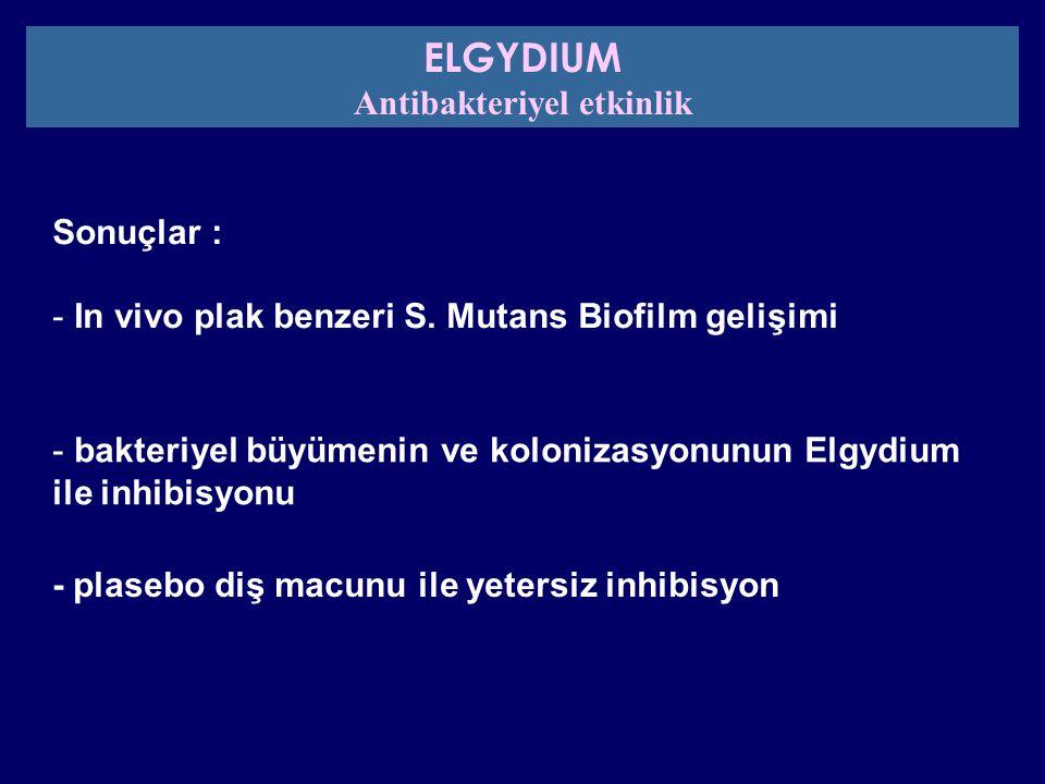 Sonuçlar : - In vivo plak benzeri S. Mutans Biofilm gelişimi - bakteriyel büyümenin ve kolonizasyonunun Elgydium ile inhibisyonu - plasebo diş macunu
