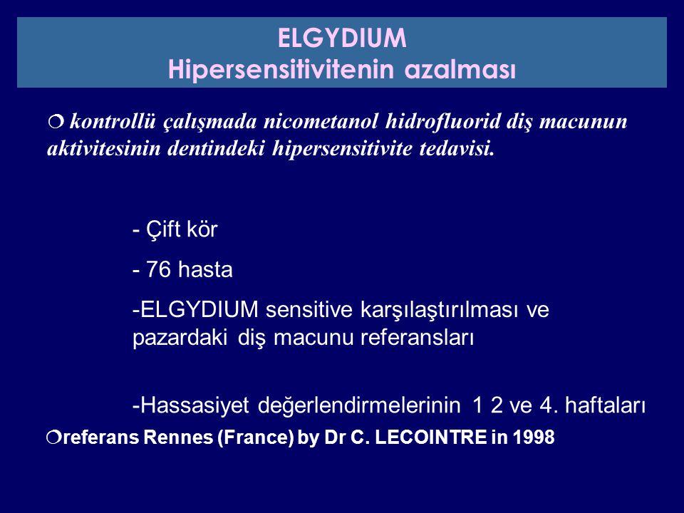  kontrollü çalışmada nicometanol hidrofluorid diş macunun aktivitesinin dentindeki hipersensitivite tedavisi.  referans Rennes (France) by Dr C. LEC