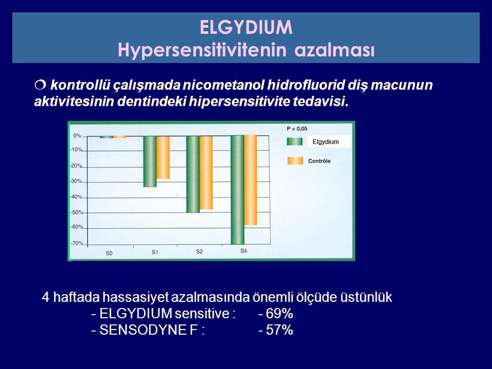 4 haftada hassasiyet azalmasında önemli ölçüde üstünlük - ELGYDIUM sensitive : - 69% - SENSODYNE F : - 57%  kontrollü çalışmada nicometanol hidrofluo