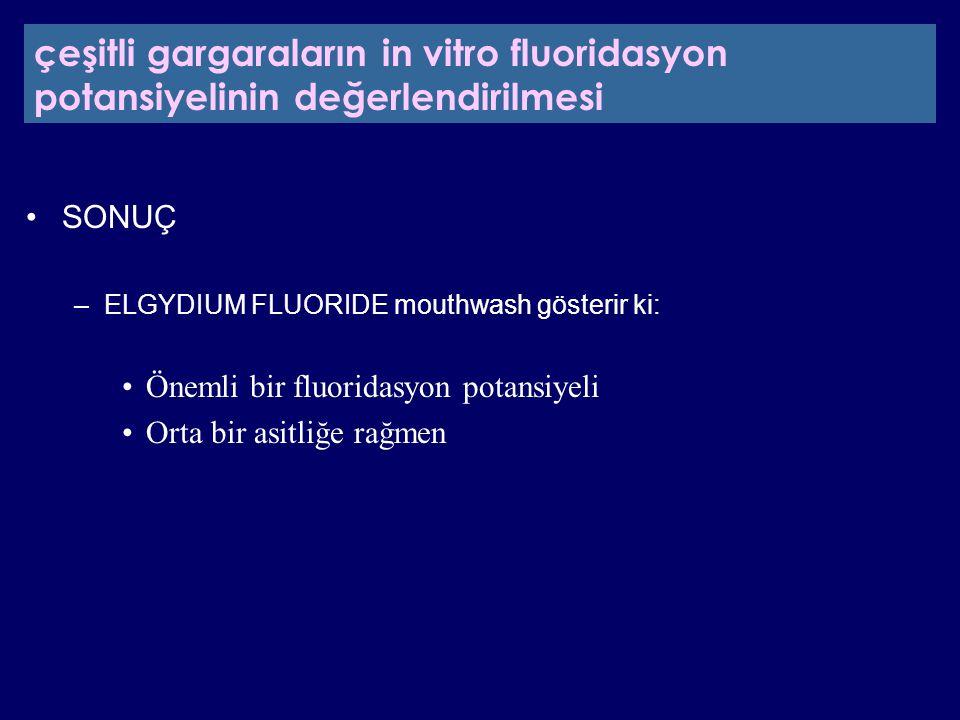 SONUÇ –ELGYDIUM FLUORIDE mouthwash gösterir ki: Önemli bir fluoridasyon potansiyeli Orta bir asitliğe rağmen çeşitli gargaraların in vitro fluoridasyo