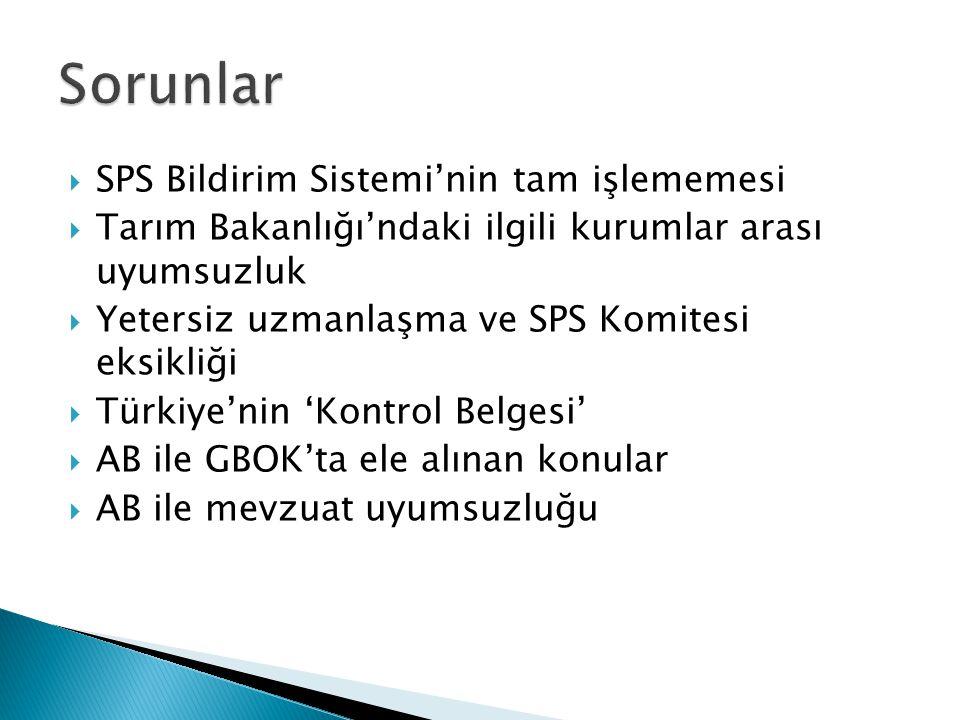  SPS Bildirim Sistemi'nin tam işlememesi  Tarım Bakanlığı'ndaki ilgili kurumlar arası uyumsuzluk  Yetersiz uzmanlaşma ve SPS Komitesi eksikliği  Türkiye'nin 'Kontrol Belgesi'  AB ile GBOK'ta ele alınan konular  AB ile mevzuat uyumsuzluğu