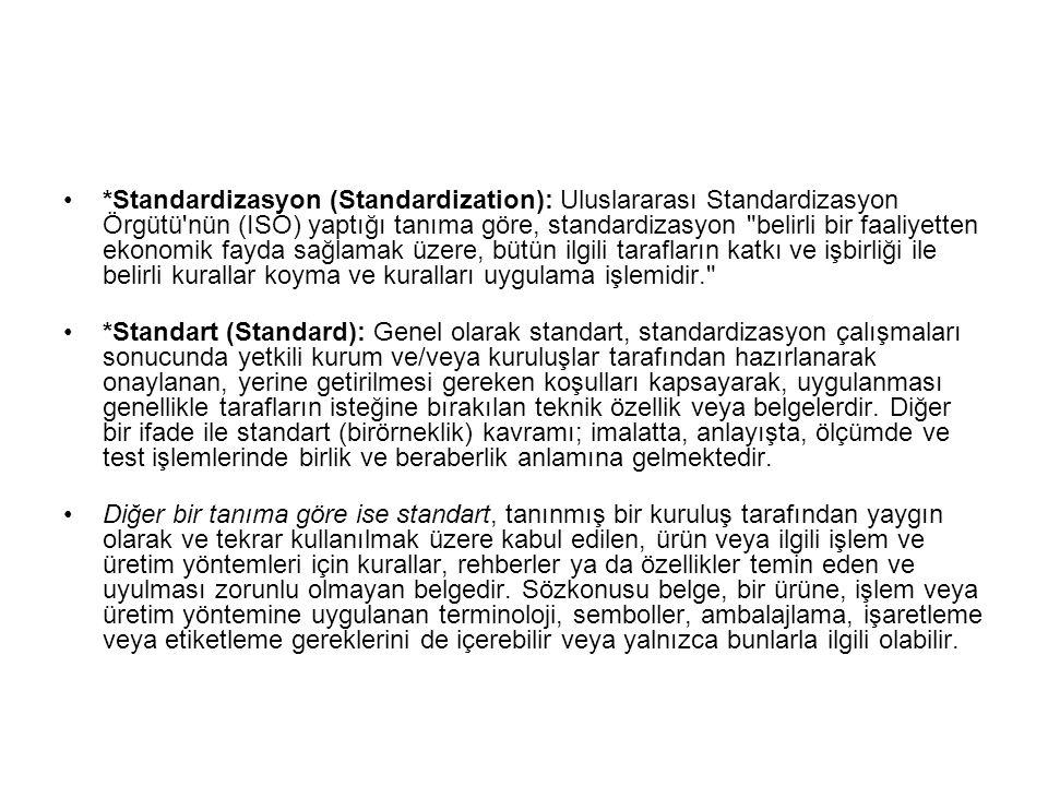 *Standardizasyon (Standardization): Uluslararası Standardizasyon Örgütü'nün (ISO) yaptığı tanıma göre, standardizasyon