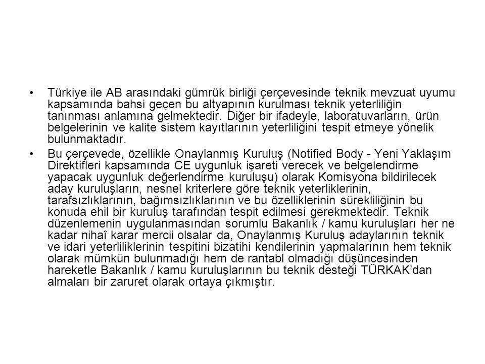 Türkiye ile AB arasındaki gümrük birliği çerçevesinde teknik mevzuat uyumu kapsamında bahsi geçen bu altyapının kurulması teknik yeterliliğin tanınmas