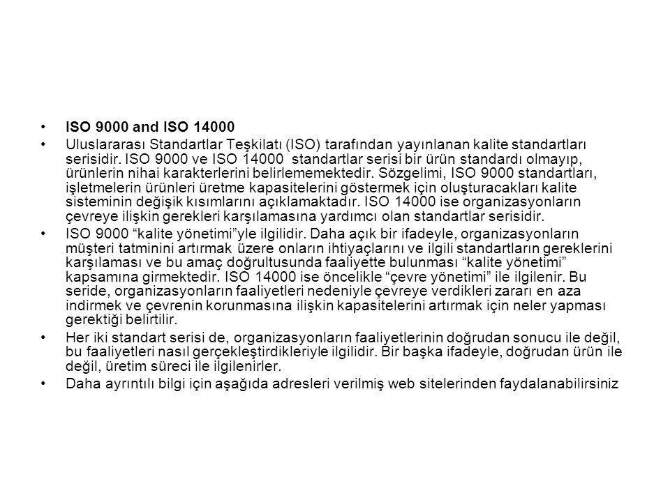 ISO 9000 and ISO 14000 Uluslararası Standartlar Teşkilatı (ISO) tarafından yayınlanan kalite standartları serisidir. ISO 9000 ve ISO 14000 standartlar