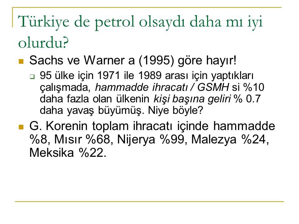 Türkiye de petrol olsaydı daha mı iyi olurdu? Sachs ve Warner a (1995) göre hayır!  95 ülke için 1971 ile 1989 arası için yaptıkları çalışmada, hamma