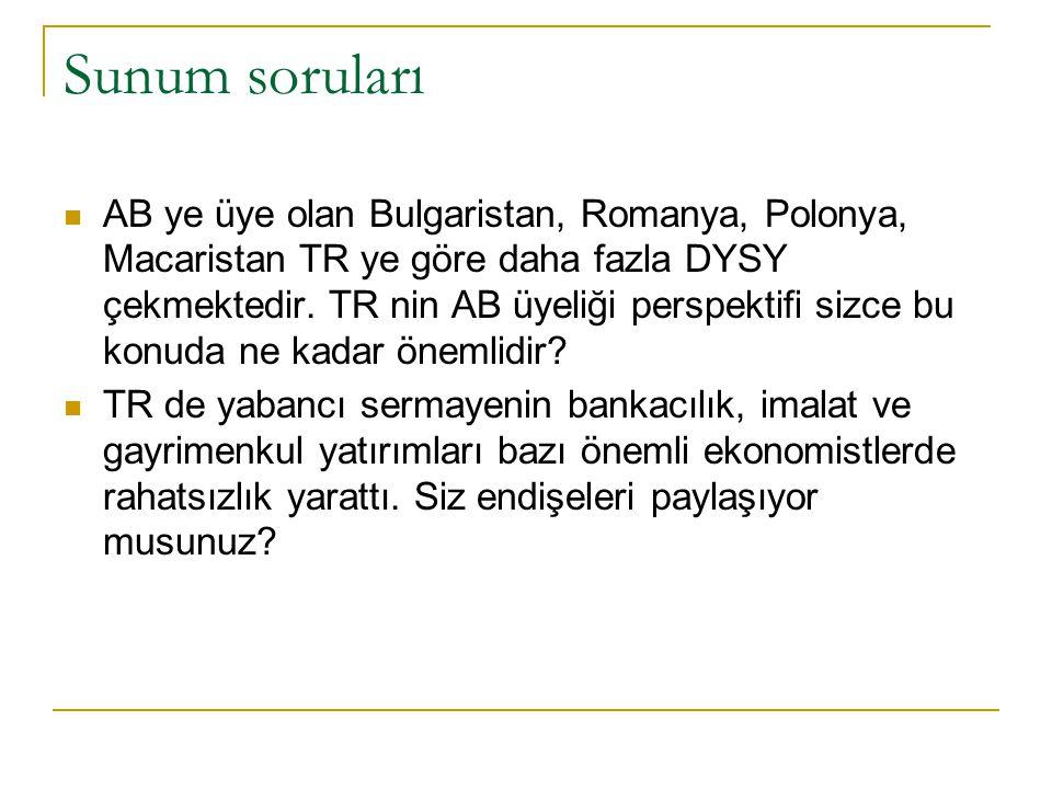 Sunum soruları AB ye üye olan Bulgaristan, Romanya, Polonya, Macaristan TR ye göre daha fazla DYSY çekmektedir.