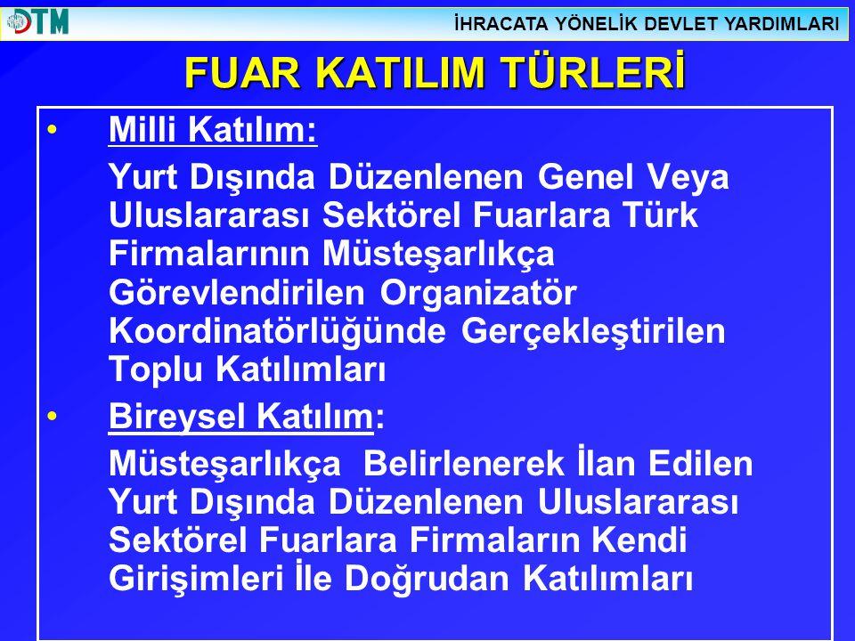 FUAR KATILIM TÜRLERİ Milli Katılım: Yurt Dışında Düzenlenen Genel Veya Uluslararası Sektörel Fuarlara Türk Firmalarının Müsteşarlıkça Görevlendirilen Organizatör Koordinatörlüğünde Gerçekleştirilen Toplu Katılımları Bireysel Katılım: Müsteşarlıkça Belirlenerek İlan Edilen Yurt Dışında Düzenlenen Uluslararası Sektörel Fuarlara Firmaların Kendi Girişimleri İle Doğrudan Katılımları İHRACATA YÖNELİK DEVLET YARDIMLARI