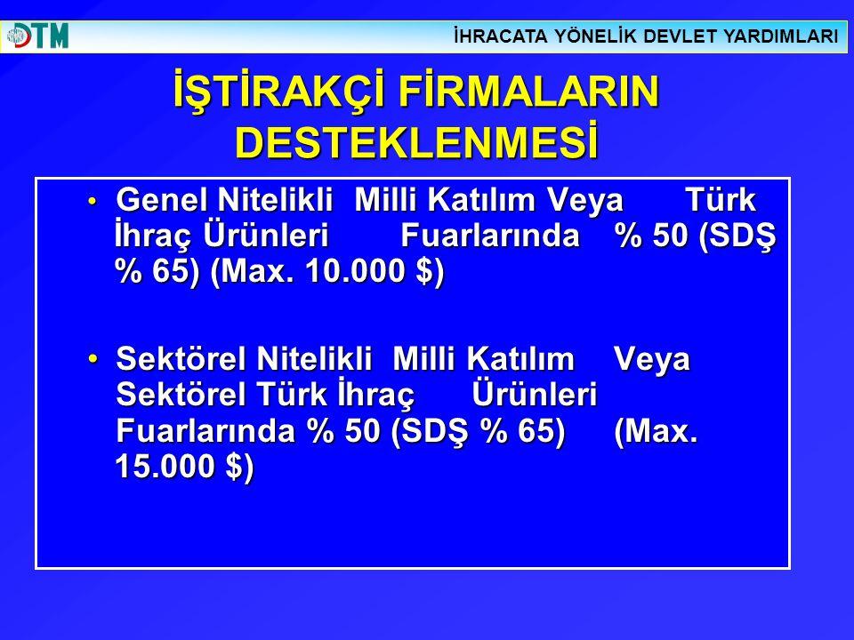 İŞTİRAKÇİ FİRMALARIN DESTEKLENMESİ Genel Nitelikli Milli Katılım Veya Türk İhraç Ürünleri Fuarlarında % 50 (SDŞ % 65) (Max. 10.000 $) Genel Nitelikli