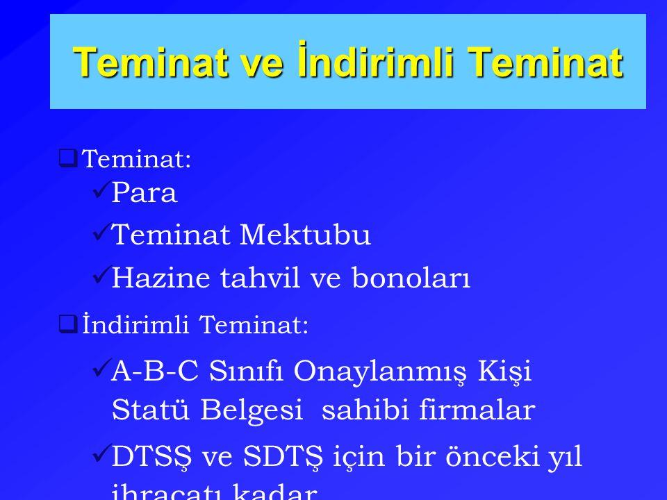 Teminat ve İndirimli Teminat  Teminat: Para Teminat Mektubu Hazine tahvil ve bonoları  İndirimli Teminat: A-B-C Sınıfı Onaylanmış Kişi Statü Belgesi sahibi firmalar DTSŞ ve SDTŞ için bir önceki yıl ihracatı kadar