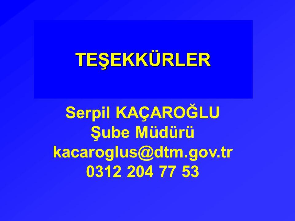 TEŞEKKÜRLER Serpil KAÇAROĞLU Şube Müdürü kacaroglus@dtm.gov.tr 0312 204 77 53