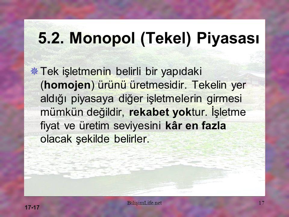17-17 BilişimLife.net17 5.2. Monopol (Tekel) Piyasası  Tek işletmenin belirli bir yapıdaki (homojen) ürünü üretmesidir. Tekelin yer aldığı piyasaya d
