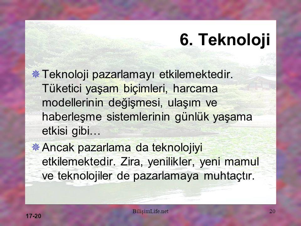 17-20 BilişimLife.net20 6. Teknoloji  Teknoloji pazarlamayı etkilemektedir. Tüketici yaşam biçimleri, harcama modellerinin değişmesi, ulaşım ve haber