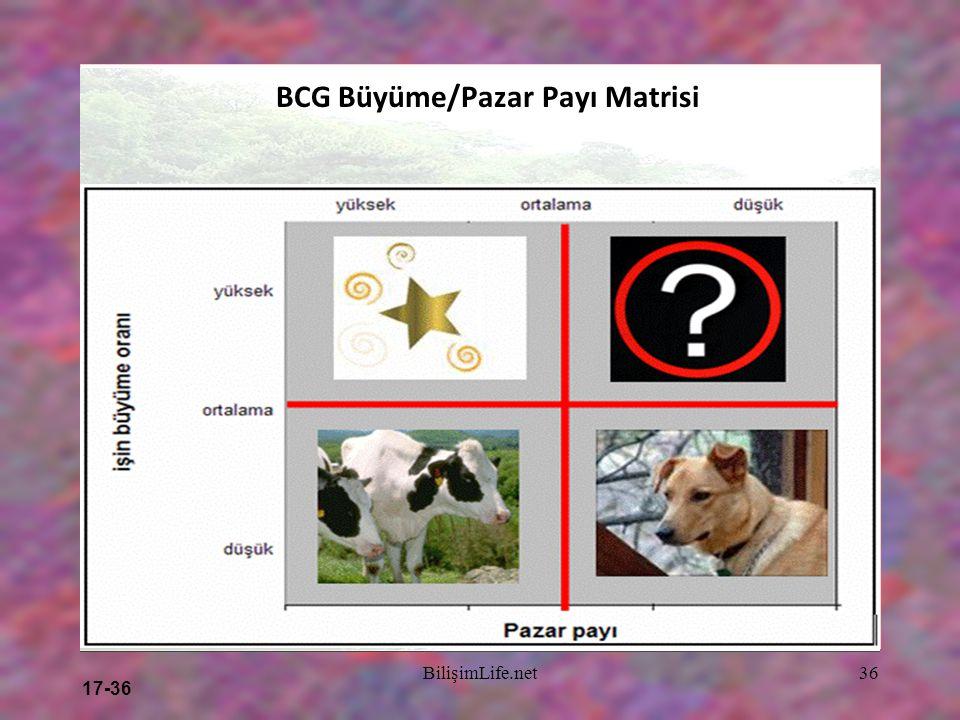 17-36 BilişimLife.net36 BCG Büyüme/Pazar Payı Matrisi Yüksek Nispi Pazar Payı Düşük YıldızlarSoru İşaretleri (Problemli çocuklar) Sağmal İnekler (Naki