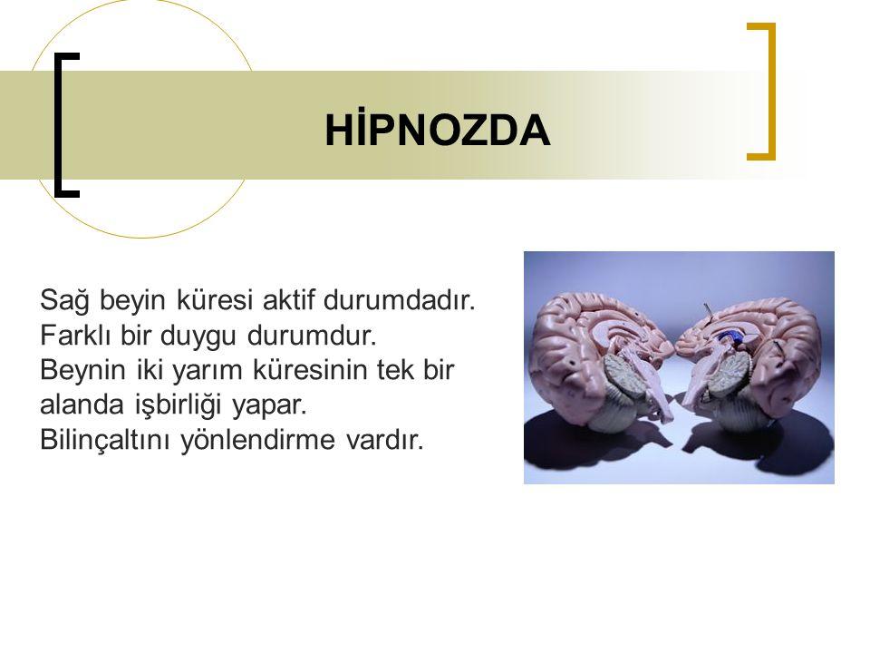 HİPNOZDA Sağ beyin küresi aktif durumdadır. Farklı bir duygu durumdur. Beynin iki yarım küresinin tek bir alanda işbirliği yapar. Bilinçaltını yönlend