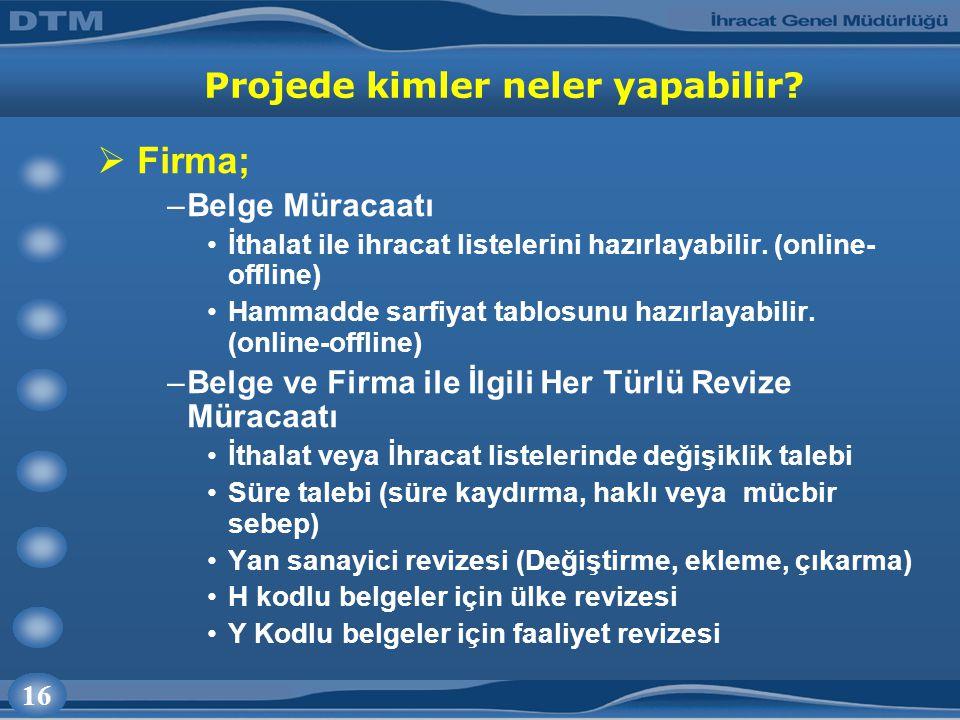 16 Projede kimler neler yapabilir?  Firma; –Belge Müracaatı İthalat ile ihracat listelerini hazırlayabilir. (online- offline) Hammadde sarfiyat tablo