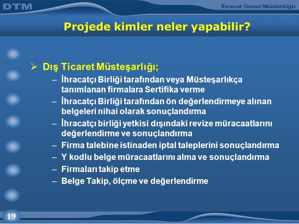 19 Projede kimler neler yapabilir?  Dış Ticaret Müsteşarlığı; –İhracatçı Birliği tarafından veya Müsteşarlıkça tanımlanan firmalara Sertifika verme –