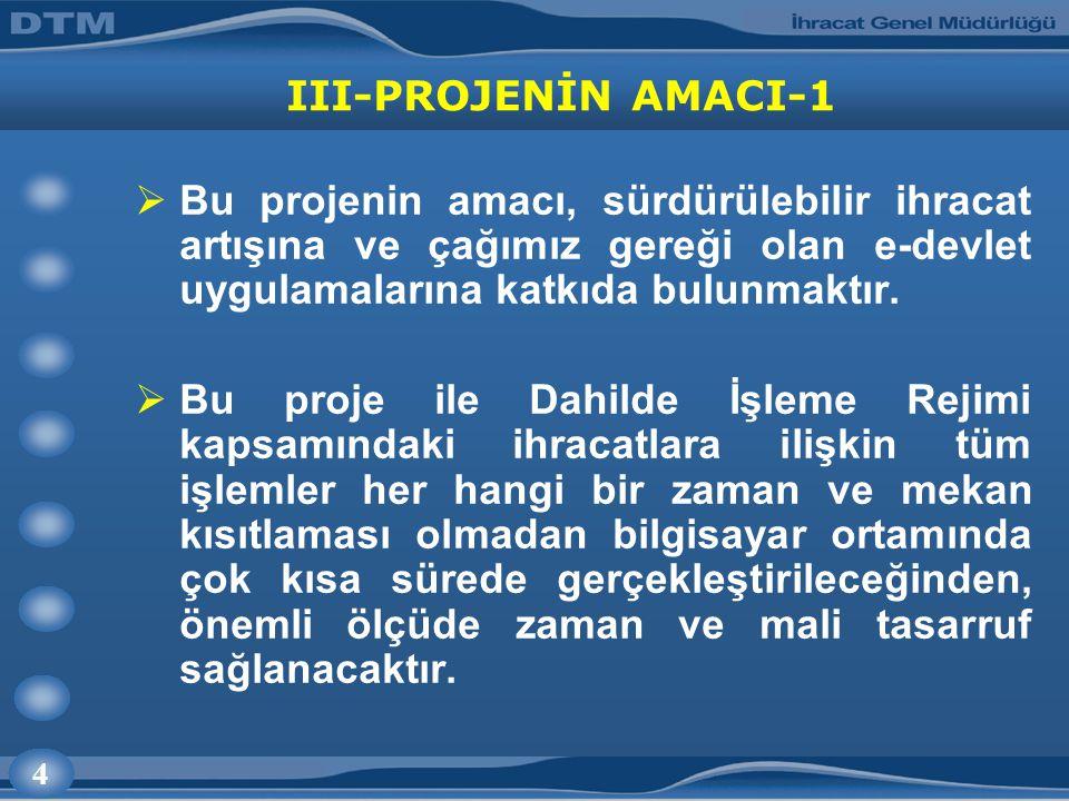 4 III-PROJENİN AMACI-1  Bu projenin amacı, sürdürülebilir ihracat artışına ve çağımız gereği olan e-devlet uygulamalarına katkıda bulunmaktır.  Bu p