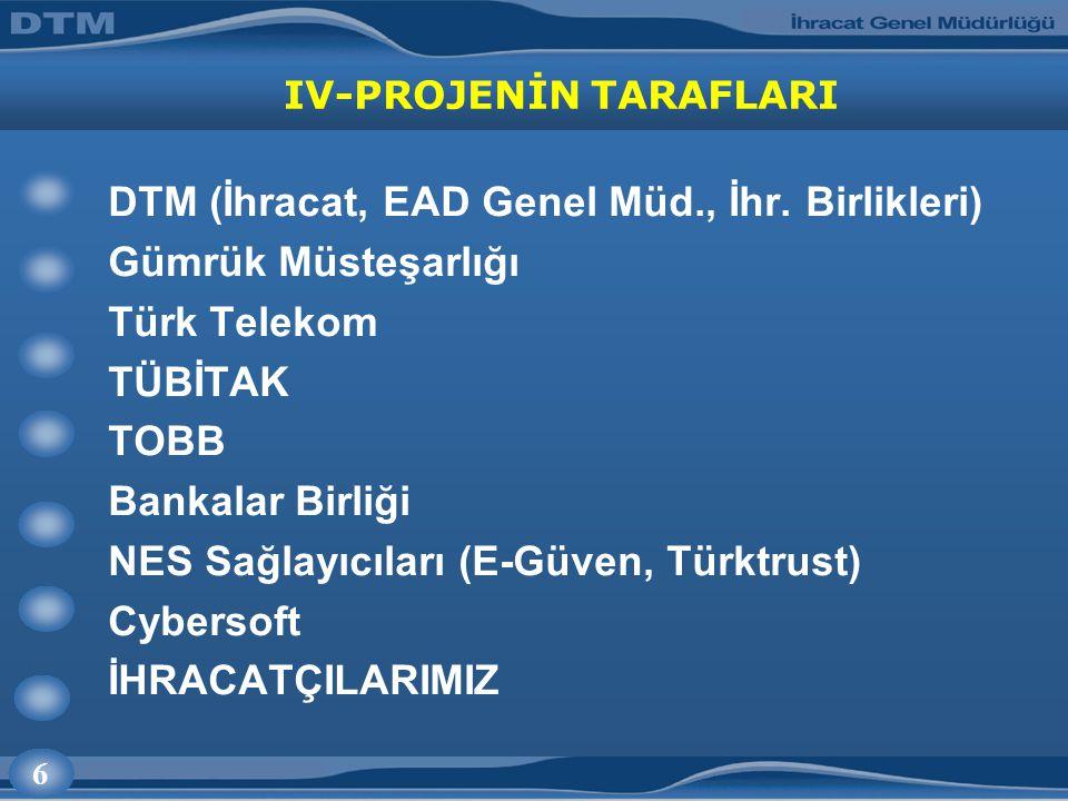 6 IV-PROJENİN TARAFLARI DTM (İhracat, EAD Genel Müd., İhr. Birlikleri) Gümrük Müsteşarlığı Türk Telekom TÜBİTAK TOBB Bankalar Birliği NES Sağlayıcılar