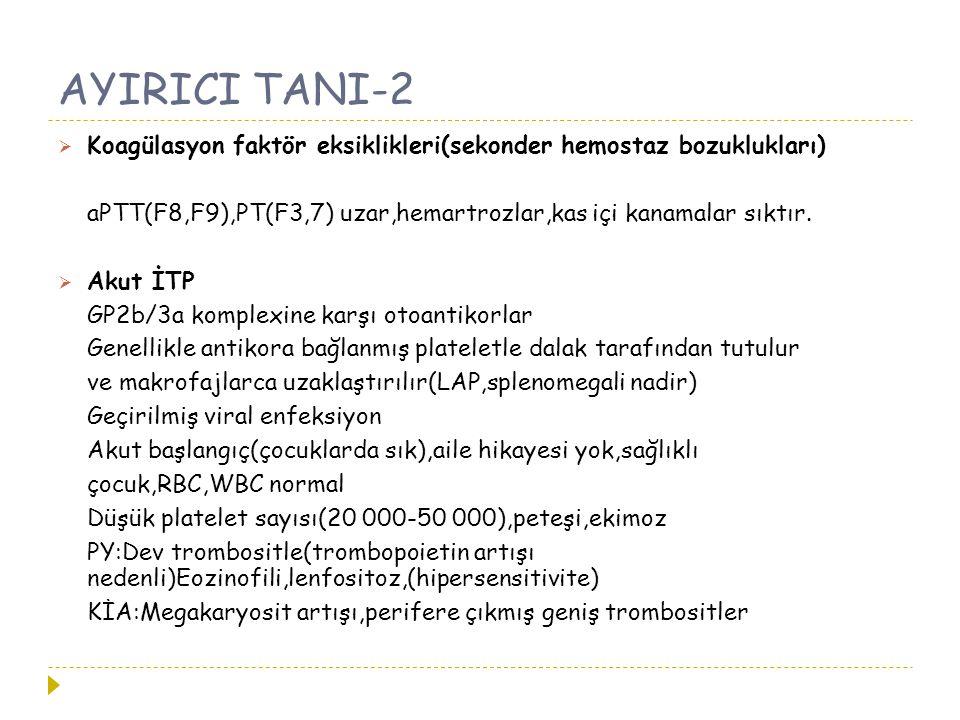 AYIRICI TANI-2  Koagülasyon faktör eksiklikleri(sekonder hemostaz bozuklukları) aPTT(F8,F9),PT(F3,7) uzar,hemartrozlar,kas içi kanamalar sıktır.  Ak