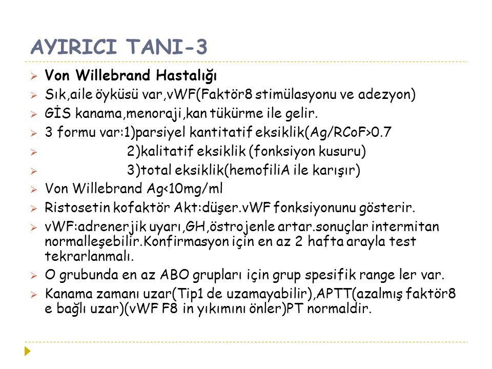 AYIRICI TANI-3  Von Willebrand Hastalığı  Sık,aile öyküsü var,vWF(Faktör8 stimülasyonu ve adezyon)  GİS kanama,menoraji,kan tükürme ile gelir.  3