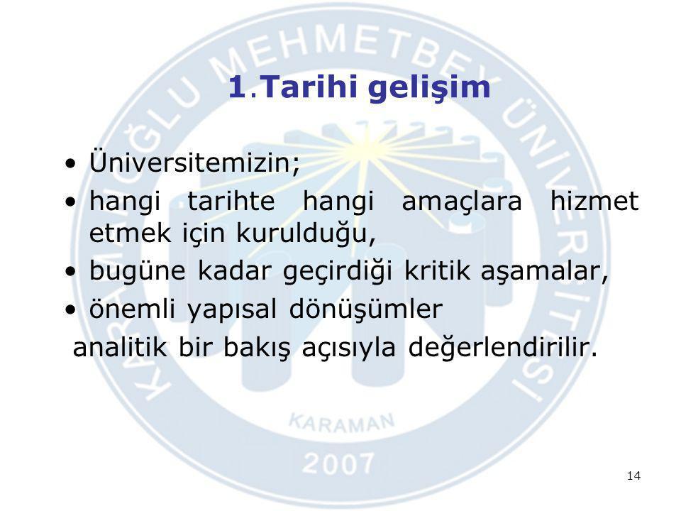 1.Tarihi gelişim Üniversitemizin; hangi tarihte hangi amaçlara hizmet etmek için kurulduğu, bugüne kadar geçirdiği kritik aşamalar, önemli yapısal dön