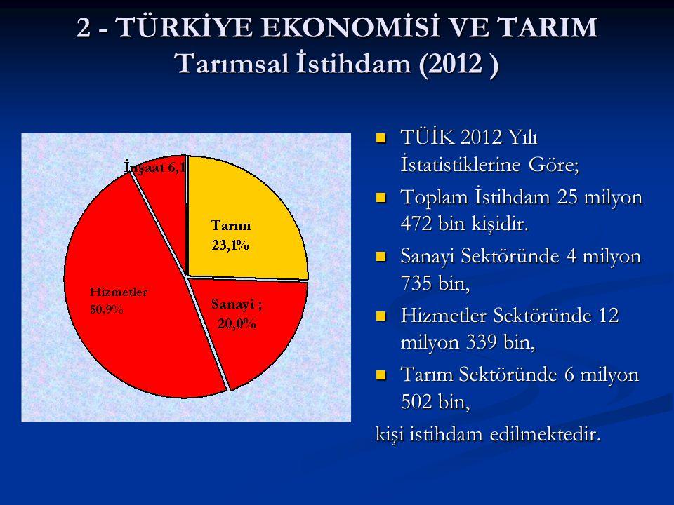 2 - TÜRKİYE EKONOMİSİ VE TARIM Tarımsal İstihdam (2012 ) TÜİK 2012 Yılı İstatistiklerine Göre; Toplam İstihdam 25 milyon 472 bin kişidir. Sanayi Sektö