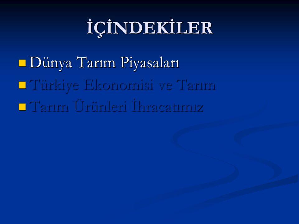 3 - TARIM ÜRÜNLERİ İHRACATIMIZ Türkiye'nin Dış Ticaretine İlişkin Genel Görünüm 199620002002201020112012 Tarım İhr.