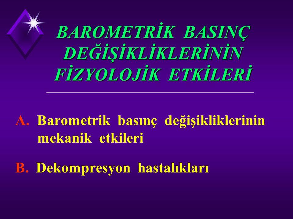 BAROMETRİK BASINÇ DEĞİŞİKLİKLERİNİN FİZYOLOJİK ETKİLERİ A. Barometrik basınç değişikliklerinin mekanik etkileri B. Dekompresyon hastalıkları