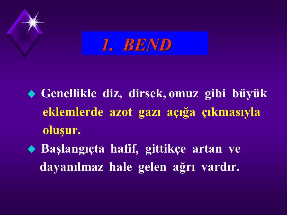 1. BEND u Genellikle diz, dirsek, omuz gibi büyük eklemlerde azot gazı açığa çıkmasıyla oluşur. u Başlangıçta hafif, gittikçe artan ve dayanılmaz hale