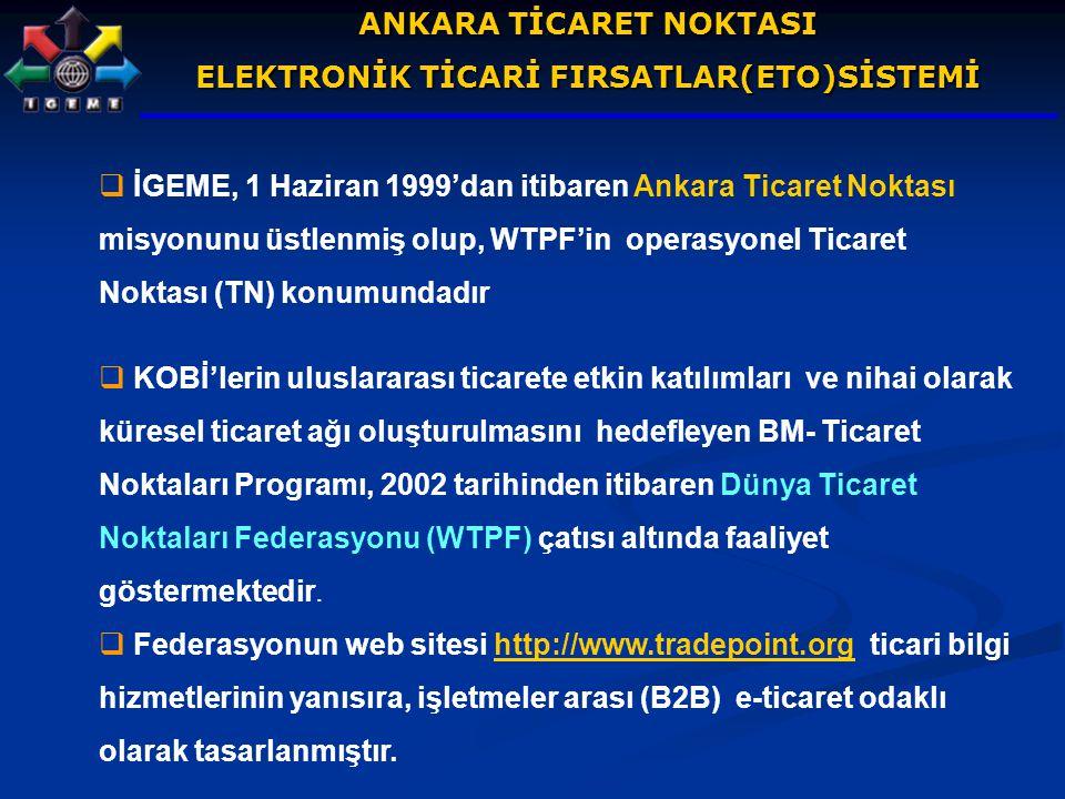 ANKARA TİCARET NOKTASI ELEKTRONİK TİCARİ FIRSATLAR(ETO)SİSTEMİ  İGEME, 1 Haziran 1999'dan itibaren Ankara Ticaret Noktası misyonunu üstlenmiş olup, W