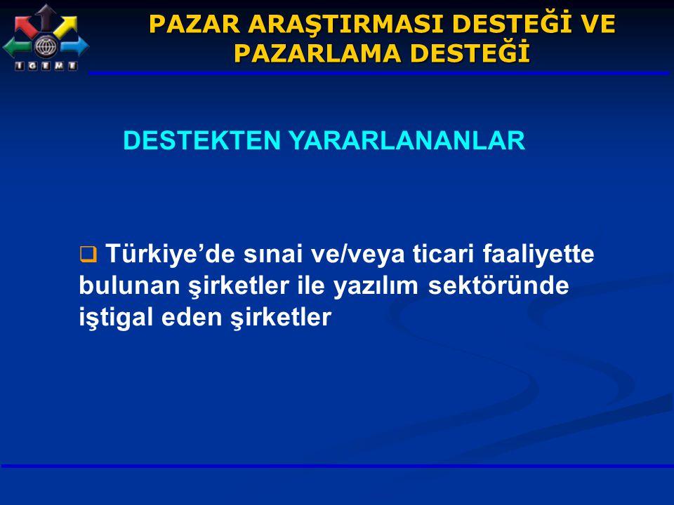 DESTEKTEN YARARLANANLAR  Türkiye'de sınai ve/veya ticari faaliyette bulunan şirketler ile yazılım sektöründe iştigal eden şirketler PAZAR ARAŞTIRMASI