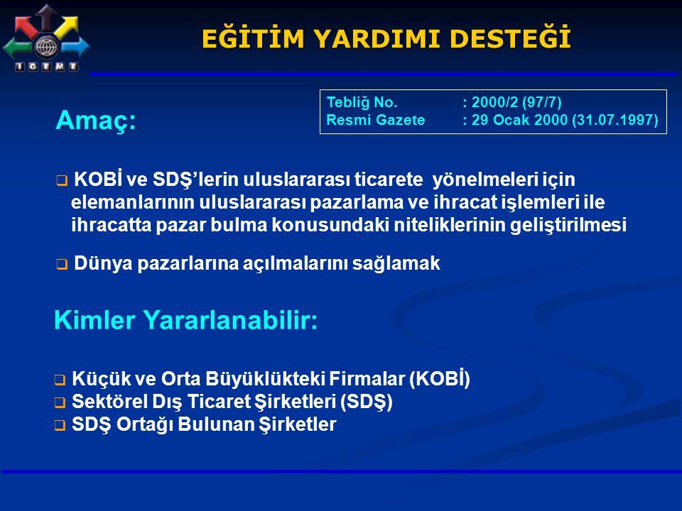 Amaç:  KOBİ ve SDŞ'lerin uluslararası ticarete yönelmeleri için elemanlarının uluslararası pazarlama ve ihracat işlemleri ile ihracatta pazar bulma k