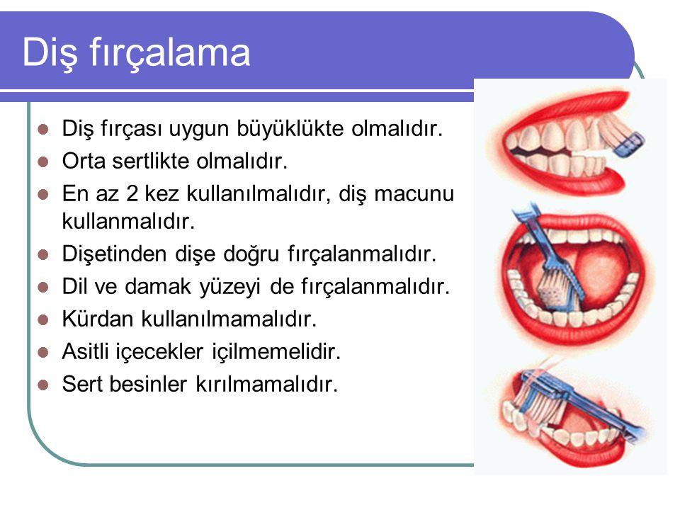 Diş fırçalama Diş fırçası uygun büyüklükte olmalıdır. Orta sertlikte olmalıdır. En az 2 kez kullanılmalıdır, diş macunu kullanmalıdır. Dişetinden dişe