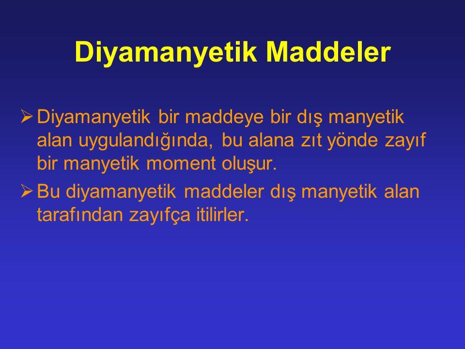 Diyamanyetik Maddeler  Diyamanyetik bir maddeye bir dış manyetik alan uygulandığında, bu alana zıt yönde zayıf bir manyetik moment oluşur.  Bu diyam