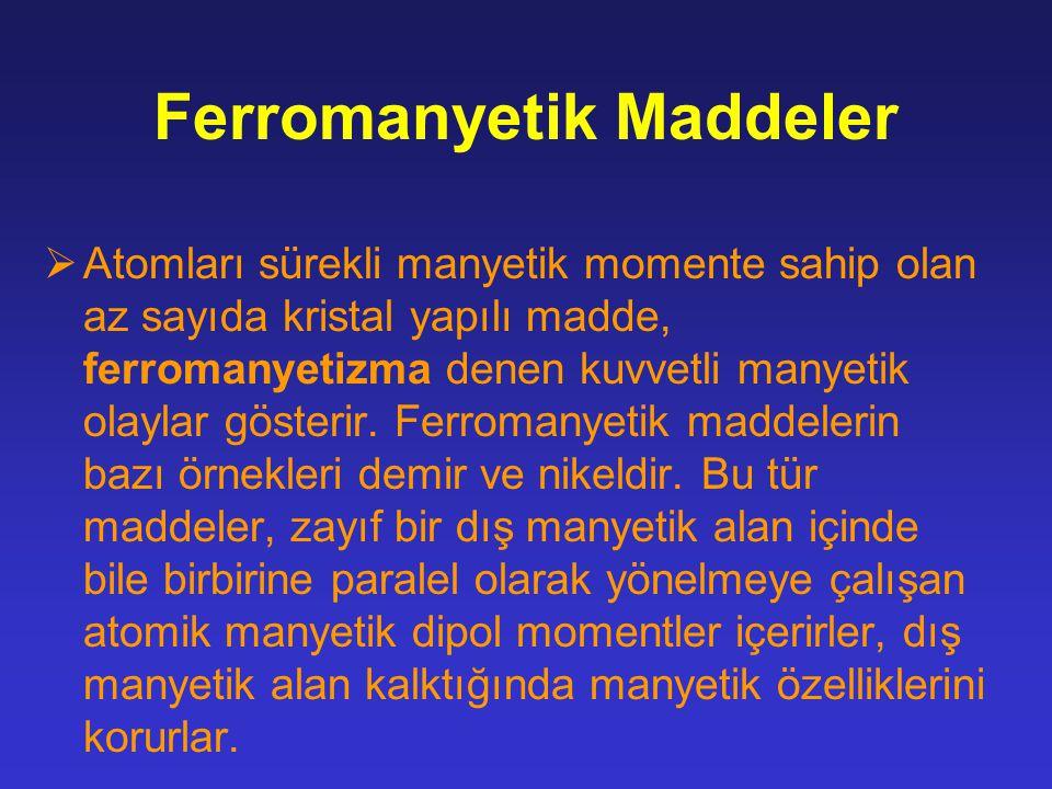 Ferromanyetik Maddeler  Atomları sürekli manyetik momente sahip olan az sayıda kristal yapılı madde, ferromanyetizma denen kuvvetli manyetik olaylar gösterir.