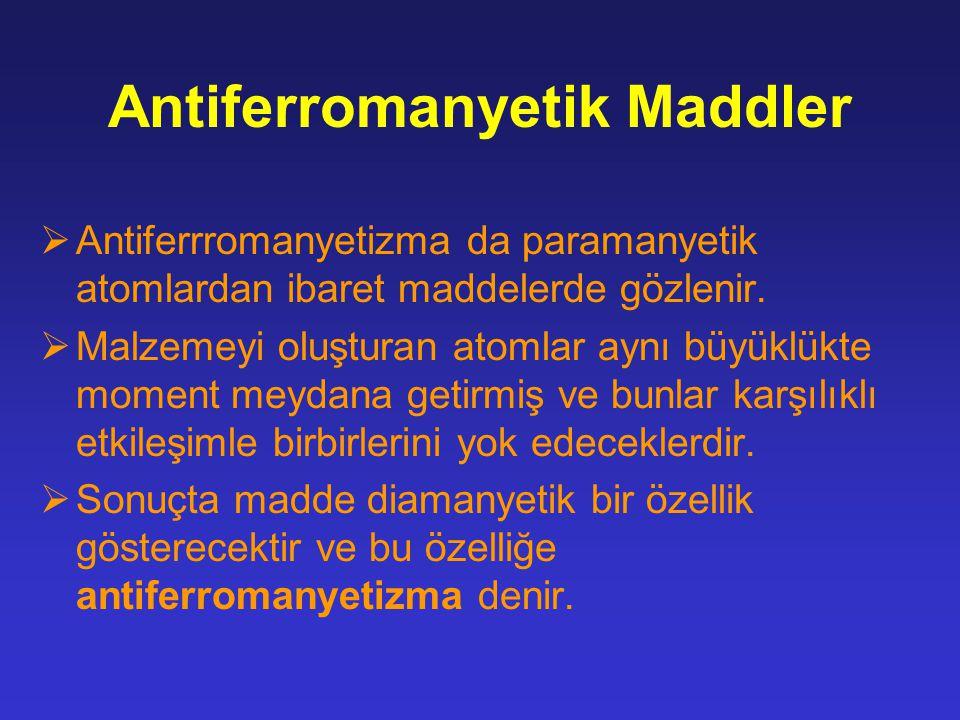 Antiferromanyetik Maddler  Antiferrromanyetizma da paramanyetik atomlardan ibaret maddelerde gözlenir.  Malzemeyi oluşturan atomlar aynı büyüklükte