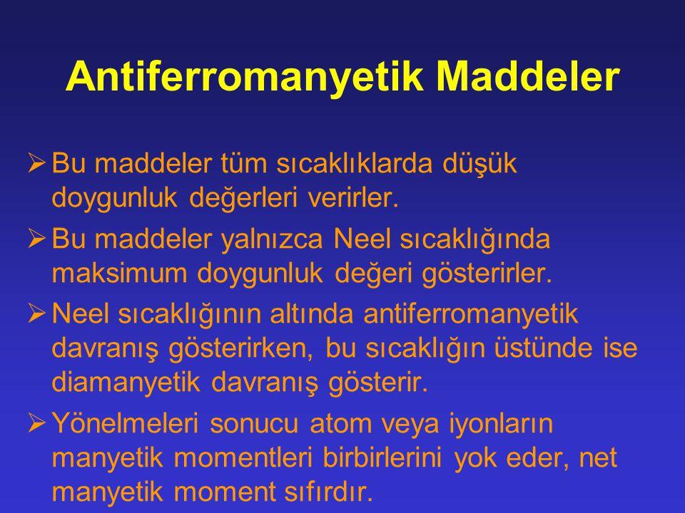 Antiferromanyetik Maddeler  Bu maddeler tüm sıcaklıklarda düşük doygunluk değerleri verirler.