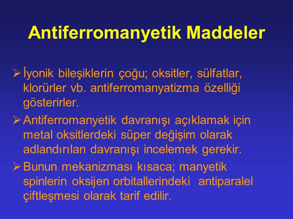 Antiferromanyetik Maddeler  İyonik bileşiklerin çoğu; oksitler, sülfatlar, klorürler vb. antiferromanyatizma özelliği gösterirler.  Antiferromanyeti