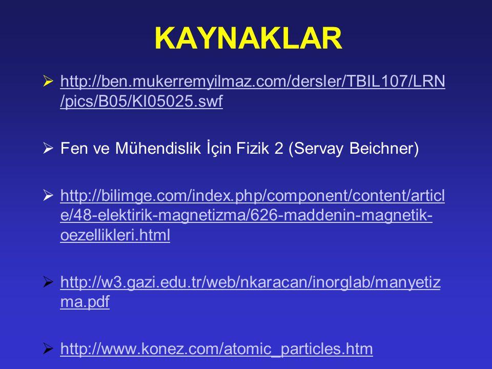 KAYNAKLAR  http://ben.mukerremyilmaz.com/dersler/TBIL107/LRN /pics/B05/KI05025.swf http://ben.mukerremyilmaz.com/dersler/TBIL107/LRN /pics/B05/KI05025.swf  Fen ve Mühendislik İçin Fizik 2 (Servay Beichner)  http://bilimge.com/index.php/component/content/articl e/48-elektirik-magnetizma/626-maddenin-magnetik- oezellikleri.html http://bilimge.com/index.php/component/content/articl e/48-elektirik-magnetizma/626-maddenin-magnetik- oezellikleri.html  http://w3.gazi.edu.tr/web/nkaracan/inorglab/manyetiz ma.pdf http://w3.gazi.edu.tr/web/nkaracan/inorglab/manyetiz ma.pdf  http://www.konez.com/atomic_particles.htm http://www.konez.com/atomic_particles.htm
