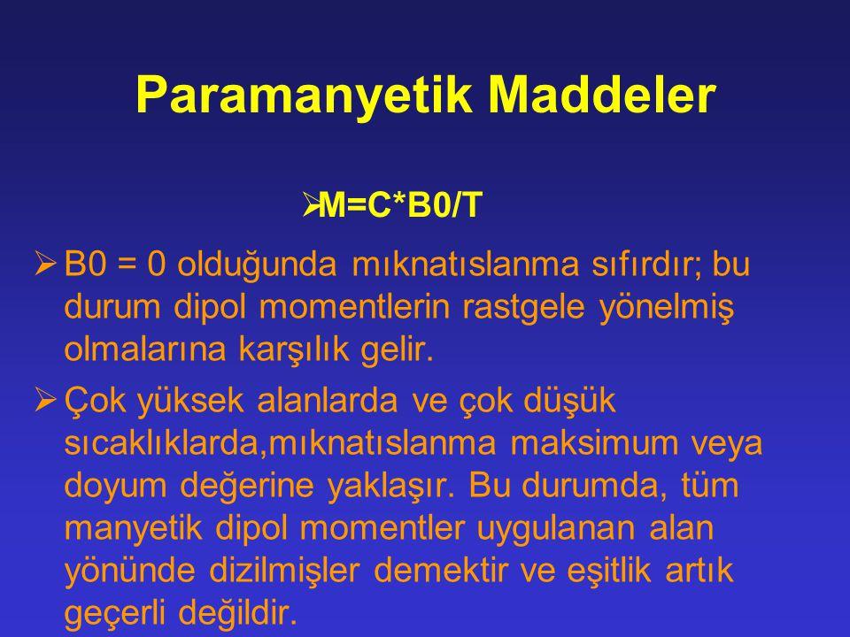 Paramanyetik Maddeler  B0 = 0 olduğunda mıknatıslanma sıfırdır; bu durum dipol momentlerin rastgele yönelmiş olmalarına karşılık gelir.  Çok yüksek