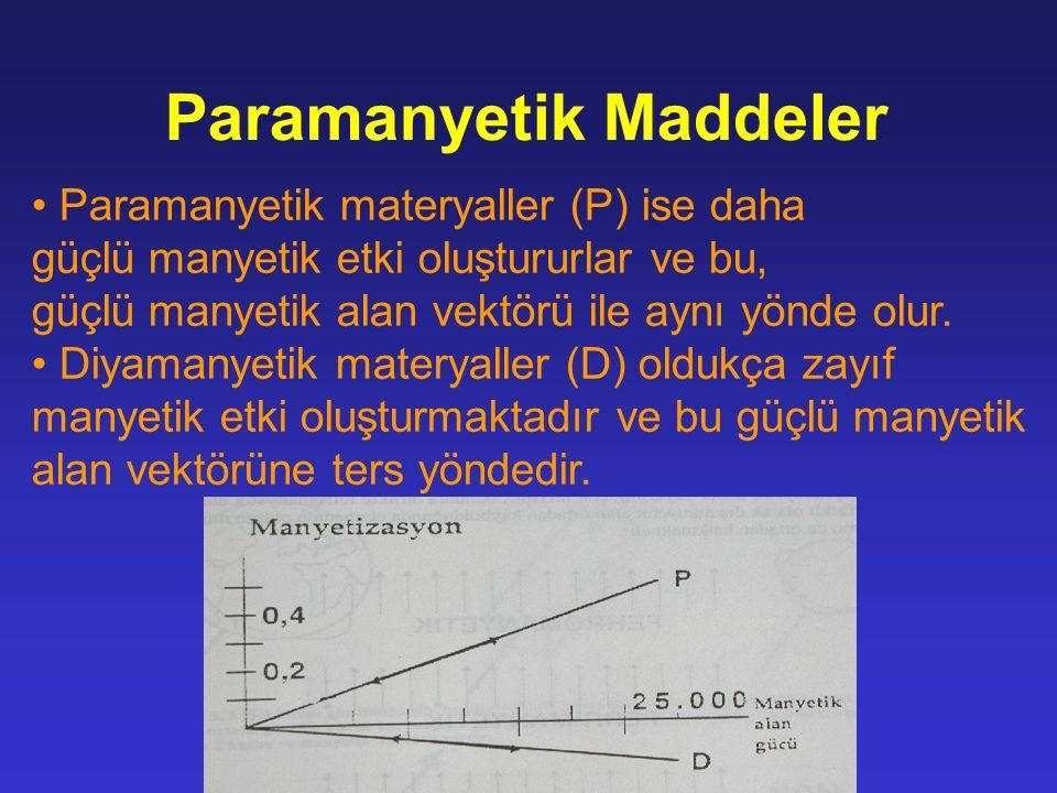 Paramanyetik materyaller (P) ise daha güçlü manyetik etki oluştururlar ve bu, güçlü manyetik alan vektörü ile aynı yönde olur. Diyamanyetik materyalle