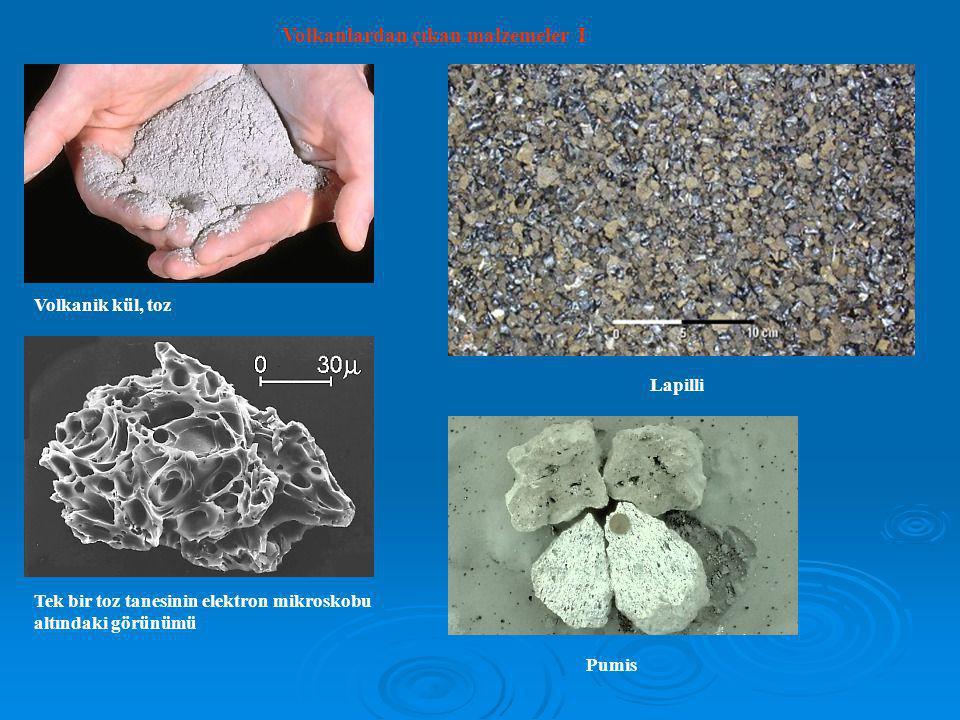 Volkanlardan çıkan malzemeler I Volkanik kül, toz Tek bir toz tanesinin elektron mikroskobu altındaki görünümü Lapilli Pumis