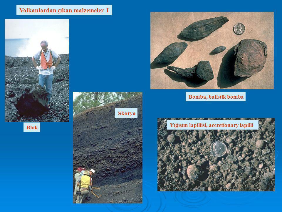Volkanlardan çıkan malzemeler I Blok Bomba, balistik bomba Skorya Yığışım lapillisi, accretionary lapilli