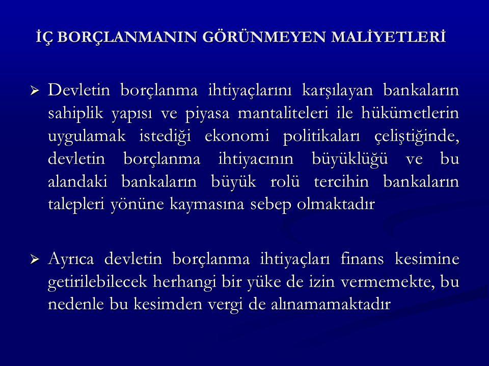 İÇ BORÇLANMANIN GÖRÜNMEYEN MALİYETLERİ  Devletin borçlanma ihtiyaçlarını karşılayan bankaların sahiplik yapısı ve piyasa mantaliteleri ile hükümetlerin uygulamak istediği ekonomi politikaları çeliştiğinde, devletin borçlanma ihtiyacının büyüklüğü ve bu alandaki bankaların büyük rolü tercihin bankaların talepleri yönüne kaymasına sebep olmaktadır  Ayrıca devletin borçlanma ihtiyaçları finans kesimine getirilebilecek herhangi bir yüke de izin vermemekte, bu nedenle bu kesimden vergi de alınamamaktadır