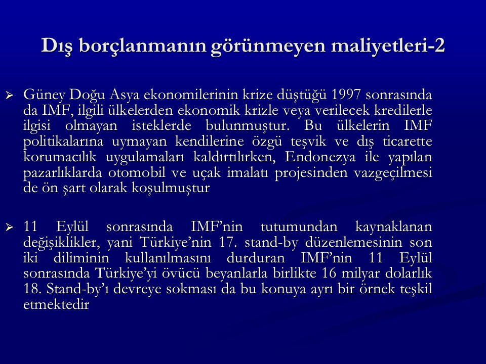 Dış borçlanmanın görünmeyen maliyetleri-2  Güney Doğu Asya ekonomilerinin krize düştüğü 1997 sonrasında da IMF, ilgili ülkelerden ekonomik krizle veya verilecek kredilerle ilgisi olmayan isteklerde bulunmuştur.