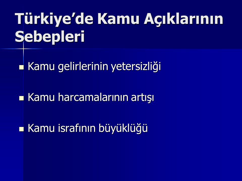 Türkiye'de Kamu Açıklarının Sebepleri Kamu gelirlerinin yetersizliği Kamu gelirlerinin yetersizliği Kamu harcamalarının artışı Kamu harcamalarının artışı Kamu israfının büyüklüğü Kamu israfının büyüklüğü