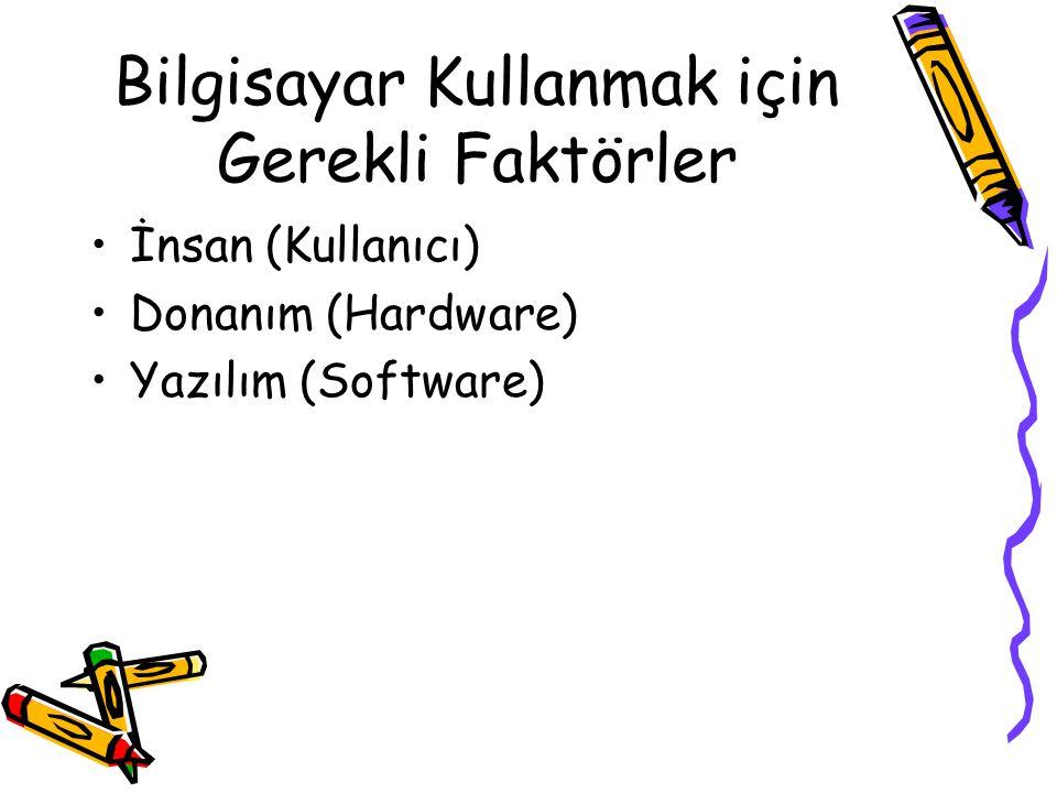 Bilgisayar Kullanmak için Gerekli Faktörler İnsan (Kullanıcı) Donanım (Hardware) Yazılım (Software)