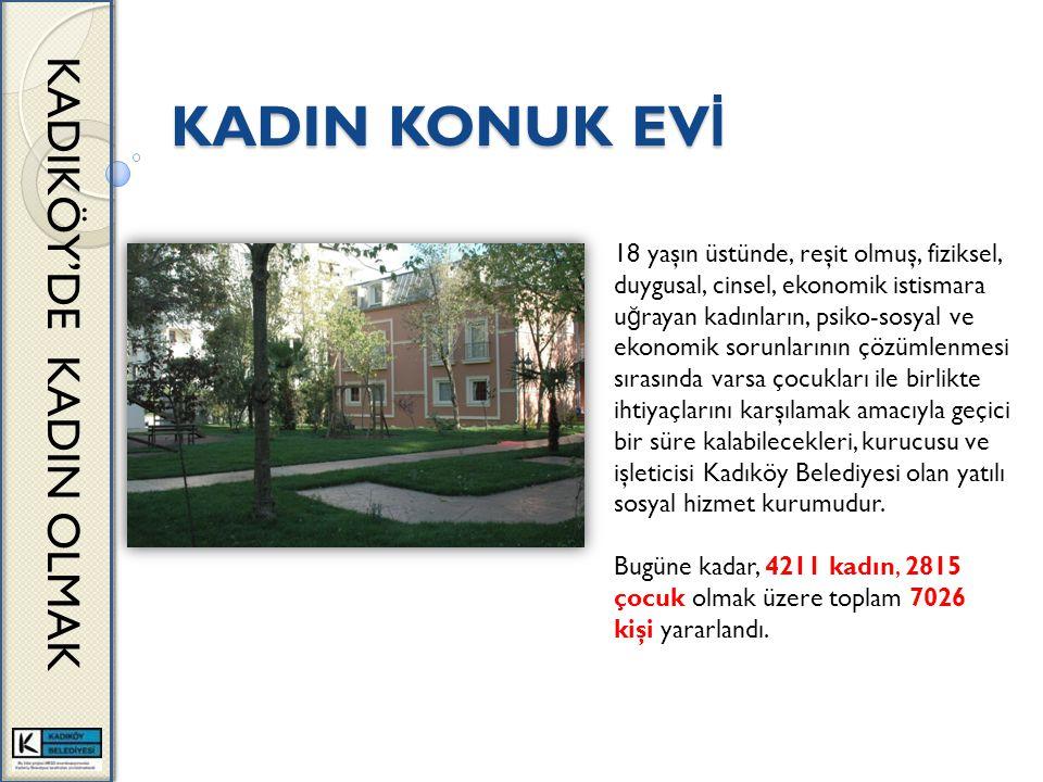 KADIN KONUK EV İ KADIKÖY'DE KADIN OLMAK 18 yaşın üstünde, reşit olmuş, fiziksel, duygusal, cinsel, ekonomik istismara u ğ rayan kadınların, psiko-sosyal ve ekonomik sorunlarının çözümlenmesi sırasında varsa çocukları ile birlikte ihtiyaçlarını karşılamak amacıyla geçici bir süre kalabilecekleri, kurucusu ve işleticisi Kadıköy Belediyesi olan yatılı sosyal hizmet kurumudur.