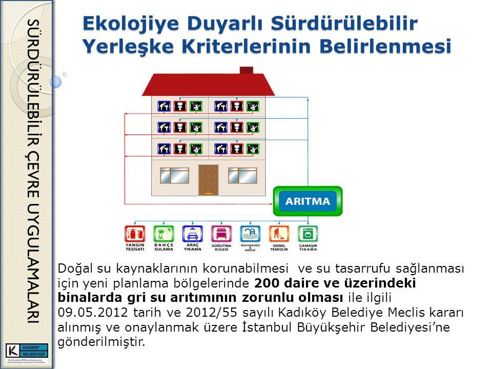Ekolojiye Duyarlı Sürdürülebilir Yerleşke Kriterlerinin Belirlenmesi SÜRDÜRÜLEB İ L İ R ÇEVRE UYGULAMALARI Doğal su kaynaklarının korunabilmesi ve su tasarrufu sağlanması için yeni planlama bölgelerinde 200 daire ve üzerindeki binalarda gri su arıtımının zorunlu olması ile ilgili 09.05.2012 tarih ve 2012/55 sayılı Kadıköy Belediye Meclis kararı alınmış ve onaylanmak üzere İstanbul Büyükşehir Belediyesi'ne gönderilmiştir.