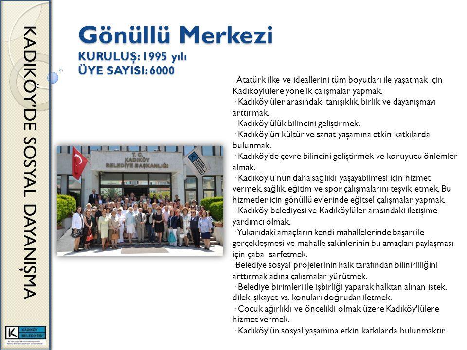 Gönüllü Merkezi KURULUŞ: 1995 yılı ÜYE SAYISI: 6000 KADIKÖY'DE SOSYAL DAYANIŞMA Atatürk ilke ve ideallerini tüm boyutları ile yaşatmak için Kadıköylülere yönelik çalışmalar yapmak.